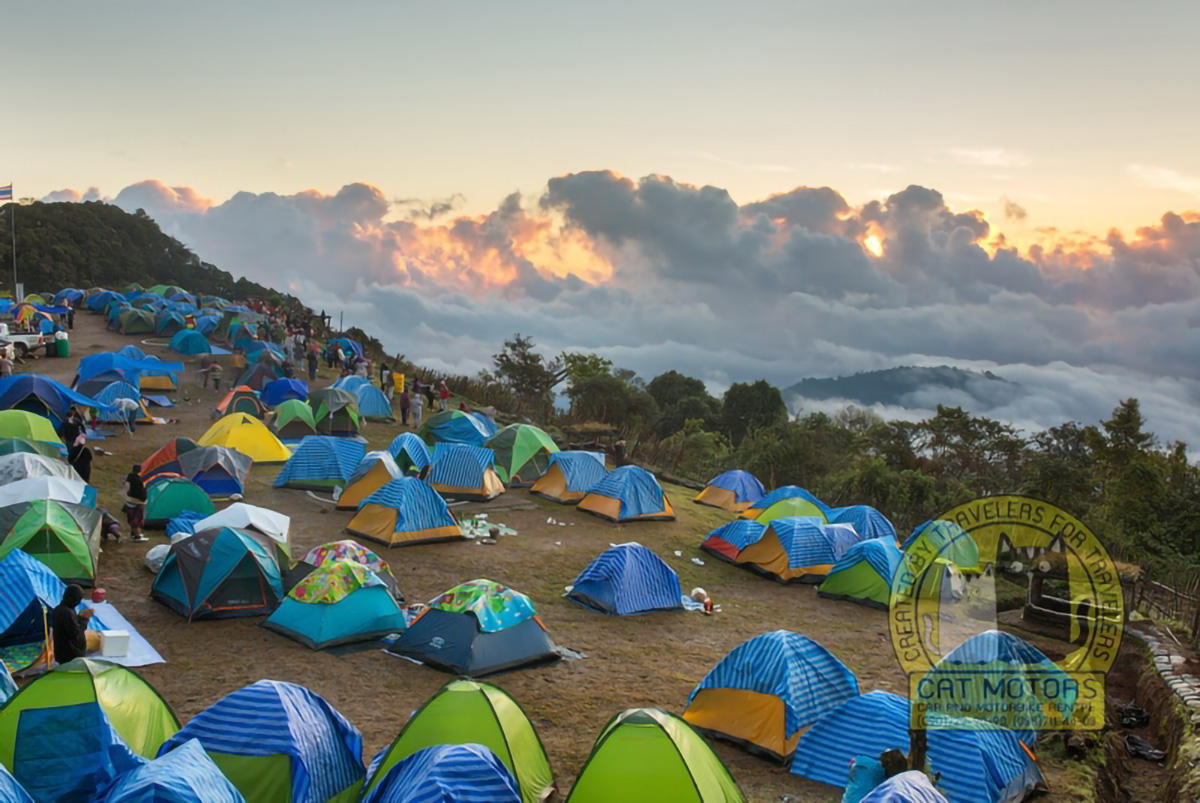Camping On The Sunrise Viewpoint At Doi Ang Khang In Northern Thailand
