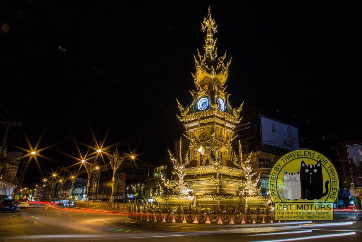 Gold Clock Tower Chiang Rai