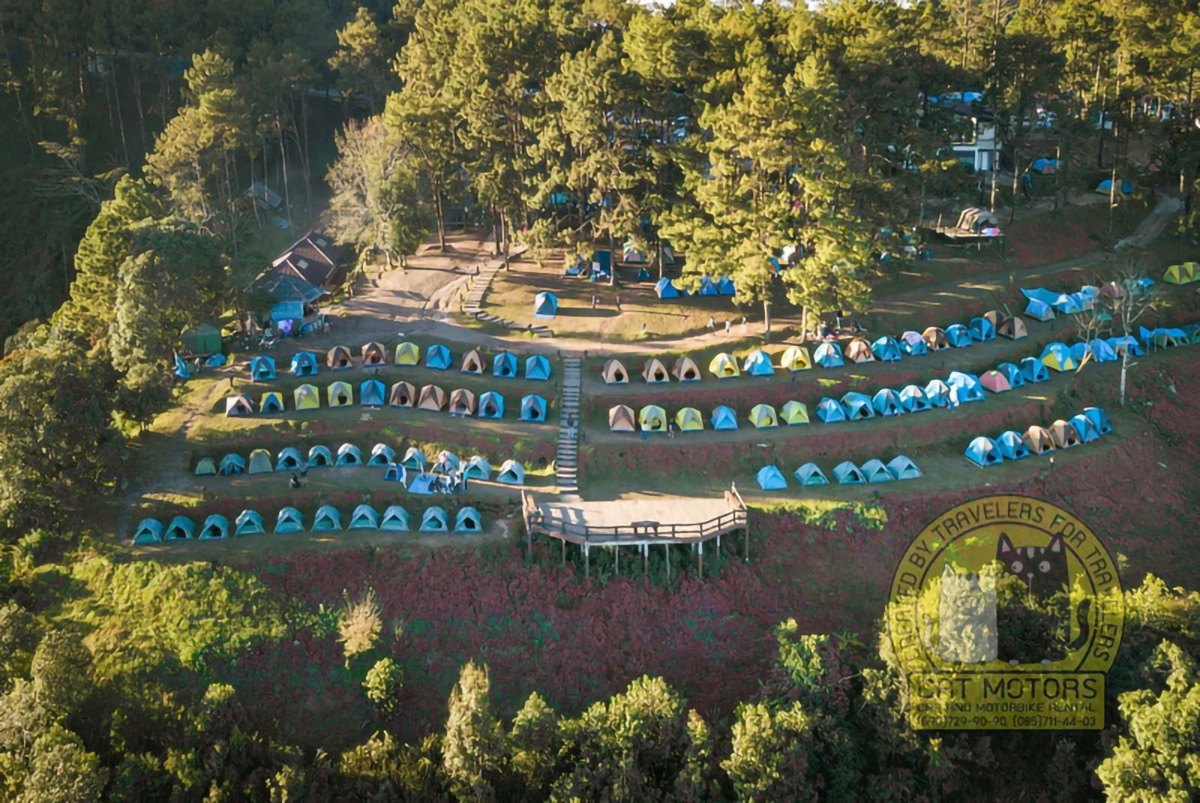 Tourist Tents In Camp Among Meadow On The Mountain Monson Viewpoint Doi Ang Khang Chiang Mai Thailand