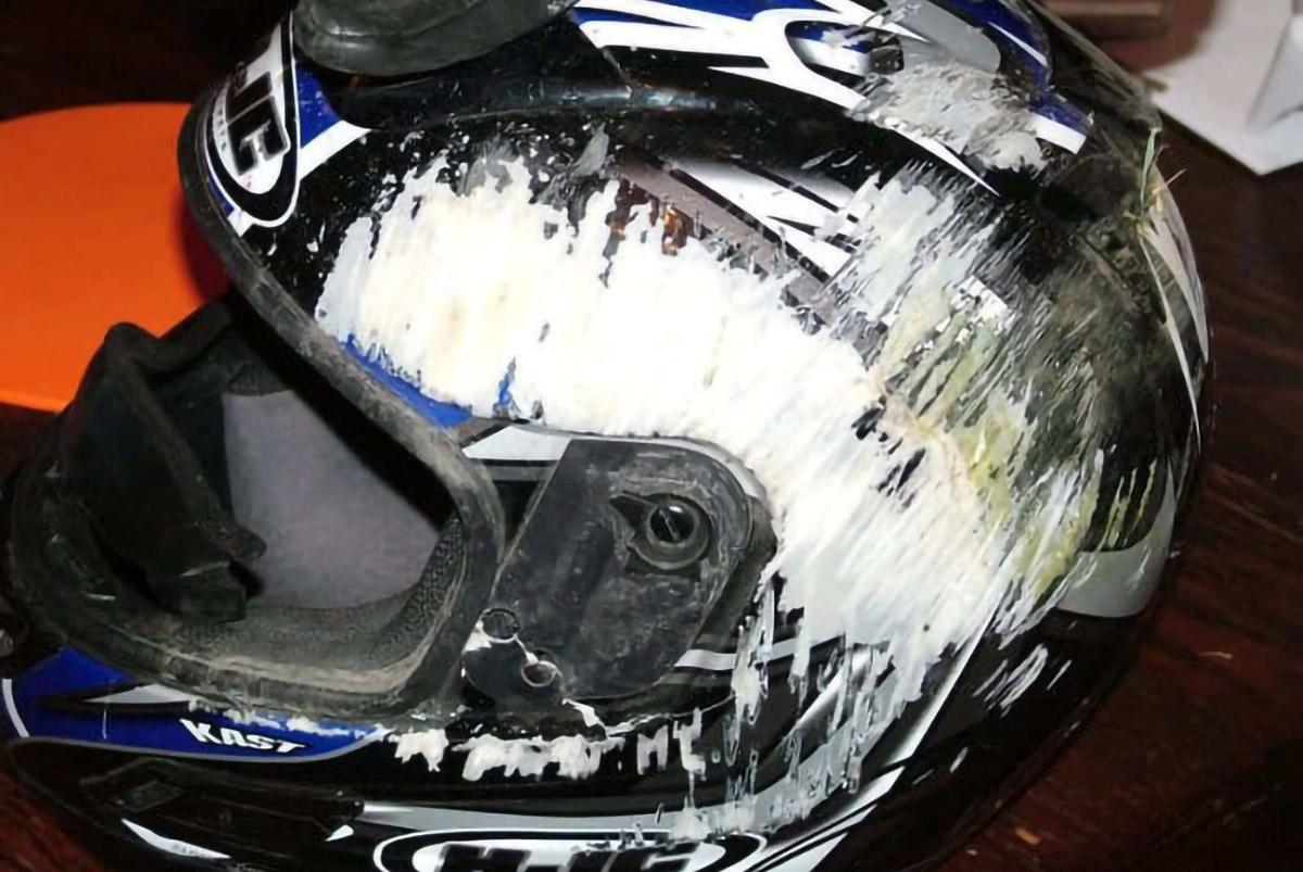 Helmet after accident